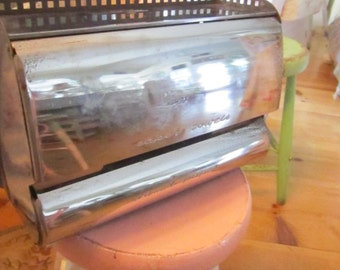 Vintage silver    wax paper and foil dispenser   shabby chic cottage prairie
