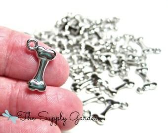 Antique Silver Dog Bone Charms (10)