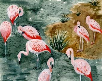 Pink Flamingo Art - Original Watercolor Gouache Painting