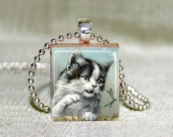 Vintage Kitty Cat Scrabble Tile Pendant Necklace.