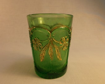 US Glass Company Green and Gold EAPG Tumbler