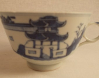 Antique Chinese Nanking Blue and White Rain and Cloud Cup