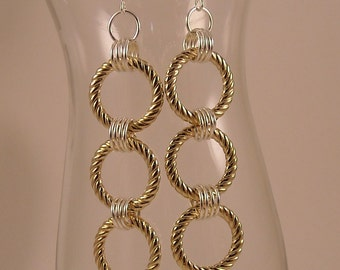Gold Halo Textured Hoop with Handmade Silver Artistic Wire Coils Dangle Earrings