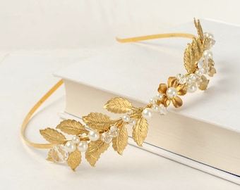 Leaf Headband Gold Headpiece Wedding Crown Bridal Hair Piece Greek Athena Golden Laurel Crown Head Piece Floral Flower Pearl Crystal Tiara