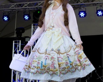 Pearl Ivory Bright Star Skirt with Matching Satin Bow, Sweet Lolita, Sample