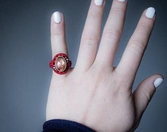 Silver 925 Sunstone Macrame Ring