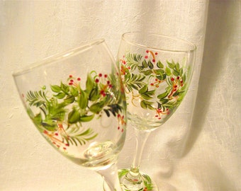Christmas hand painted pair of wine glasses