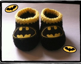 Batman Baby Booties, Batman Baby Shower Gift Newborn or 3 to 6 months, Handmade Crochet Made to Order