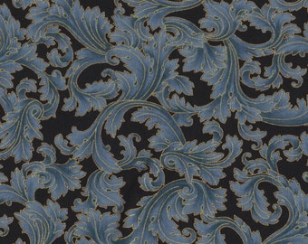 Fat Quarter, Marbella by Timeless Treasures, Blue Fabric, Metallic Fabric, Blue Floral, 02280