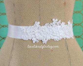White Pearl  Beaded  Lace Sash, White Lace   Bridal Sash, Bridesmaid Sash, Flower Girl White Sash / SH-40