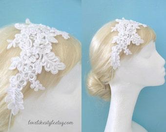 White Pearl Beaded Lace Headband, Bridal White Lace Headband, Wedding white Head Piece id Sash, White Lace Sash / SH-66