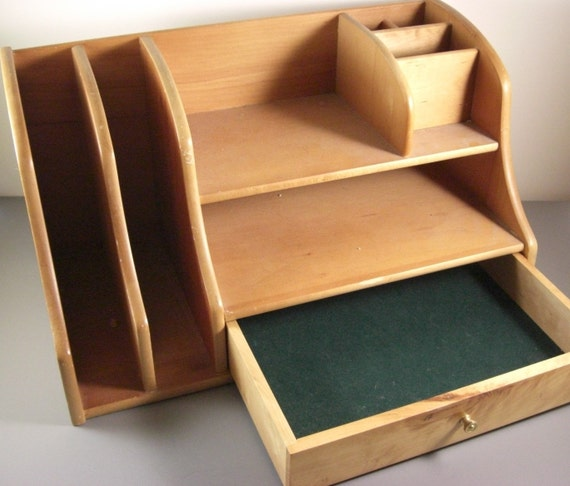 Wooden desk organizer with cubbyholes drawer
