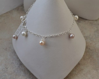 Dainty Freshwater Cultured Pearl Sterling Silver Chain Bracelet