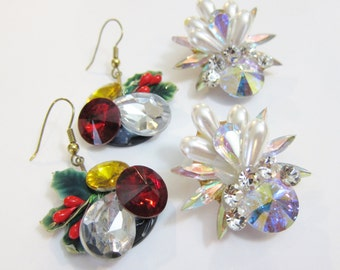 Vintage Glitzy Crystal Christmas Rivoli Earrings Unsigned Wendy Gell?