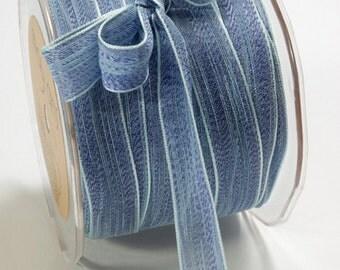 Blue  Ribbon. Mesh two tone  Ribbon  .Baby Shower - Birthdays - Holiday Trims - 1 yard   Cards. Favors. Packaging Ribbon - Gift Ribbon