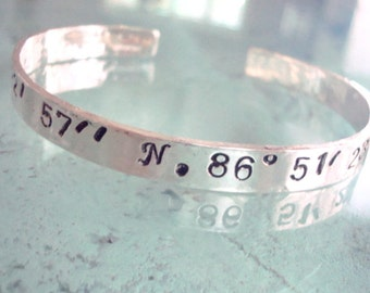Latitude and Longitude - GPS Coordinates Bracelet - Sterling Silver Cuff - Personalized Jewelry - Anniversary, Wedding, Graduation, New Home