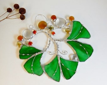 Ginkgo Leaves In The Riverside Forest Park. Green Ginkgo leaves. Stained Glass Suncatcher.
