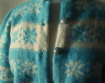 Vintage 50s Knit Norwegian Cardian Sweater