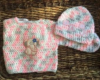 Elephant Baby Beanie and Sweater Jacket Gift Set