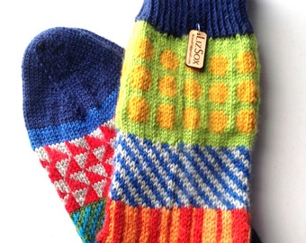 Socks, Hand Knit Unique Socks, Men Socks, Women Sox, Bohemian Sox,Teen Socks, Hipster Sox, Socks,  Graphic Design, Boho Socks, Made to Order