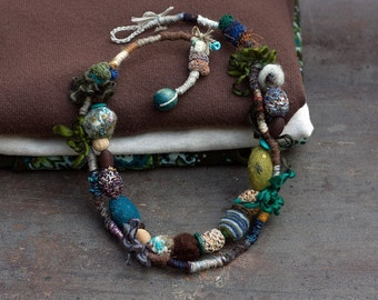 Fiber art statement necklace, woodland beaded jewelry, hand wrapped with crochet, felt and wooden beads, earthy colors, OOAK