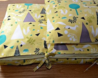 Toddler Duvet Cover & Pillow Sham - Crib Duvet Cover - Foxes - Toddler Bedding