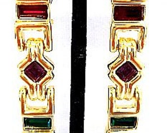 "Dangle Clip On Earrings Red Green Ice Rhinestones Gold Metal Holiday 2 5/8"" Vintage"