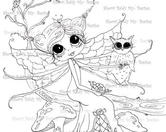 INSTANT DOWNLOAD Digi Stamps Big Eye Big Head Dolls Digi IMG447 By Sherri Baldy
