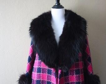 Vintage Fuchsia and Navy Tweed Coat with Fox Fur Trim