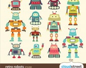 buy 2 get 1 free Cute Robots Clipart for personal and commercial use ( cute robot clip art ) vector graphics
