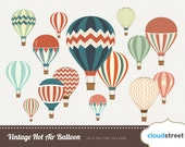 buy 2 get 1 free Vintage Hot Air Balloon clipart for personal and commercial use ( vintage hot air balloons clip art ) vector graphics