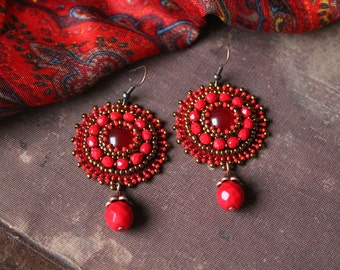 Red Copper Earrings Bead Embroidery Earrings Beadwork Earrings Dangle Earrings Embroidery Jewelry Red Beads Earrings Ethnic MADE TO ORDER
