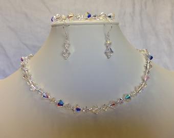 925 Swarovski Crystal Neclace, Bracelet, and Earring Set