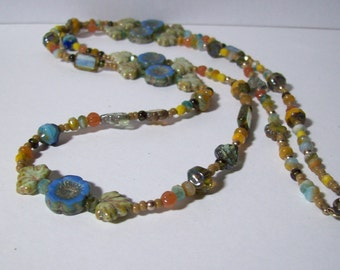 Blue Czech Flower Necklace. Czech Glass in Blues, Greens, Tans, Golds. Multicolored Necklace. Long Necklace. Boho Chic. Hippie. Summer.
