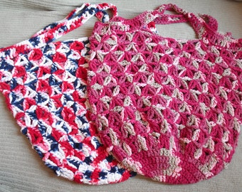 Damask Ombre Large Market Bag, Star Pattern - USA Grown US Shipping Included