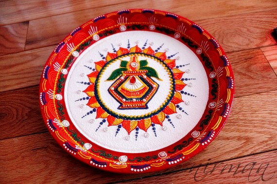 Kalash Pooja Thali-Decorative Henna Mehndi Design