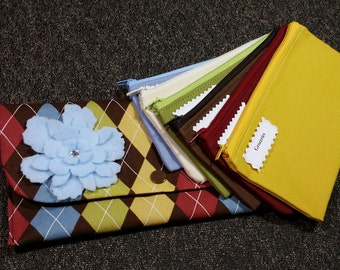 Cash Envelope Wallet, Cash Budget Envelopes -Multicolor Argyle (It can be used with the Dave Ramsey system)