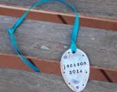 PERSONALIZED Ornament hand Stamped SPOON with Ribbon 2014