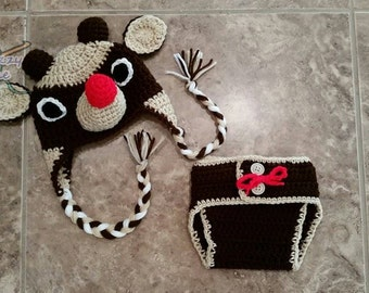 Baby Rudolph Reindeer Hat & Diaper Cover Set Outfit - Newborn Beanie Boy Girl Costume Christmas  Photo Prop Cap Winter