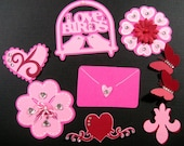 9 Scrapbook Embellishments, Valentine Die cuts, tags/embellishment, Scrapbook, Cards