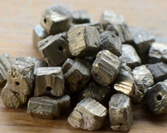 10 - Natural Cube Pyrite Beads Charm Gemstone Small Fools Gold Bead Jewelry Supplies (S034)