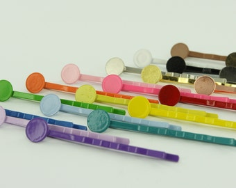 "100 - 2"" Colorful Enamel Bobby Pins/Hair Pins with Glue Pads 8mm (Choose Your Colors) 2 Inch"