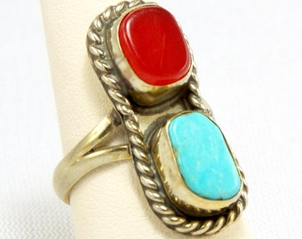 Western Rodeo Coral N Turquoise Double Solitaire Ring, Full Finger Style Red n Blue Gemstone Ring, Tribal Turquoise & Coral Roped Ring