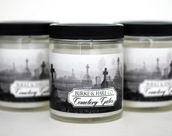 Halloween Candle - Cemetery Gates - Scented Candle - Goth Candle