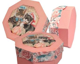 Digital Gift Box Hexagon Shape Victorian Kitties
