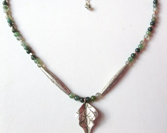 Moss Agate and Fine Silver Leaf Necklace