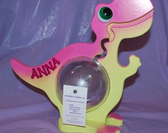 Personalized Mini Big Belly Coin-A-Saurus Dinosaur Bank Pink/Yellow