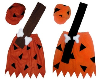Bamm Bamm Flintstones Rust/Brown or Orange/Black Custom Made Kids Halloween Costume w/ Club