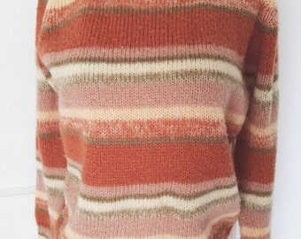 SALE //  Desert Skies Earth Tone Striped 70s Pullover Sweater Space Dye Fuzzy Acrylic Yarn by Roberta Pallazo Marked L
