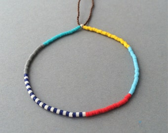 Adjustable Colorful Seed Bead Bracelet available in gold, rose gold, and silver B-001